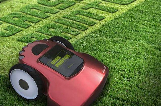 Cortar a grama, escrevendo uma mensagem
