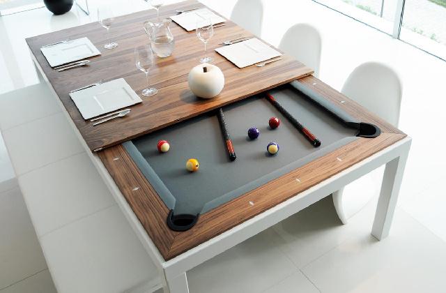 Mesa de jantar ou de jogar bilhar? Duas em uma
