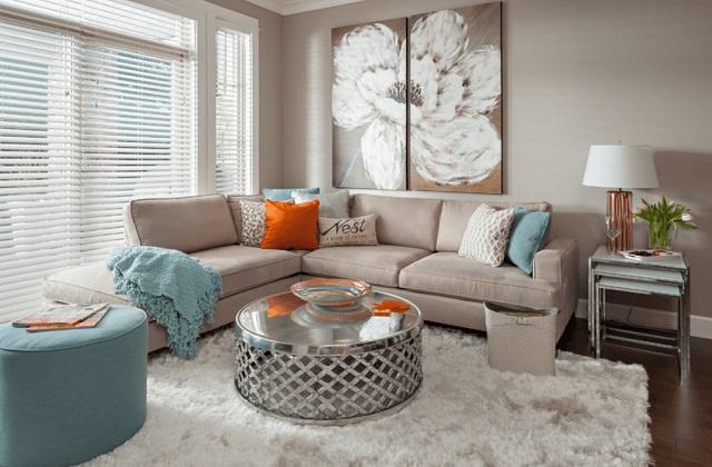 Idéias para uma sala de estar toda em cinza