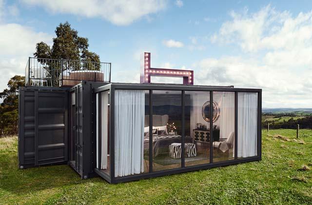 Um hotel de luxo dentro de um container