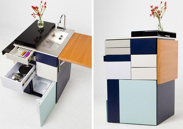 A mini-cozinha compacta e de estilo moderno