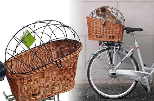 Cesta de bicicleta tipo gaiola para transportar seu cão com segurança